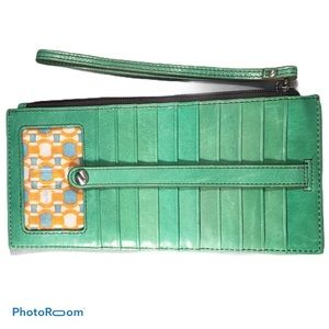 HOBO Leather Wallet Organizer Green Wristlet